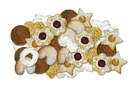 zelfgemaakte koekjes en meringue voor kerst, geïsoleerd Stockfoto