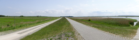 mecklenburg western pomerania: flood protection dam with the lagoon area called