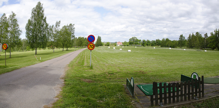golf area with driving range and motor road with speed limitation of 70 km/h at Sweden Reklamní fotografie - 88626047