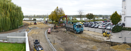 TULLN, AUSTRIA - OCTOBER 25, 2017: building site of the landing place at the river danube and the monastery way,  the socalled