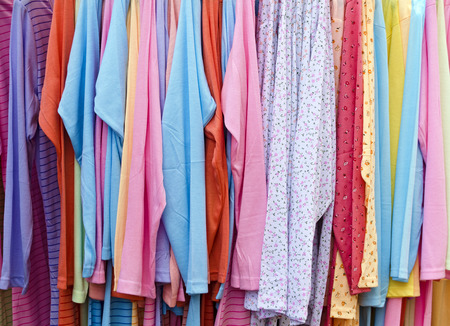 colorful soft night gowns on  a clothes hanger Stock Photo