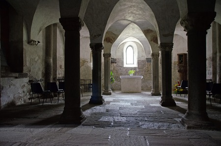 Romanesque undercroft of the abbey church of Innichen, South Tirol, Italy Stok Fotoğraf