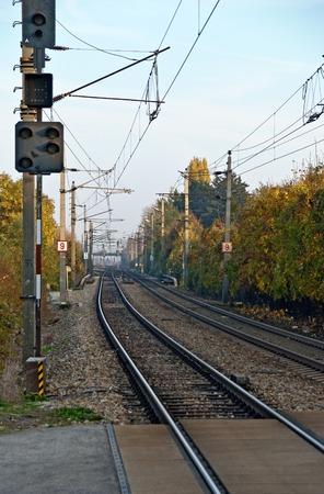 straight  track route of the junction line between the Viennese west and main  train station in the region Speising, Austria Banco de Imagens