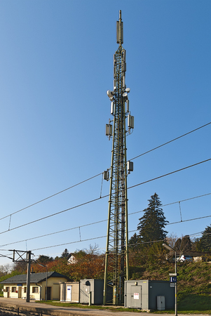 shared transmitter mast for several wireless carriers at a railway stop, Duerrwien, Austria