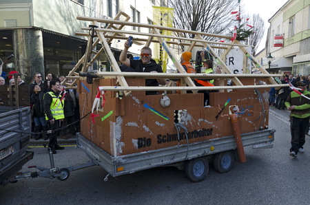 TULLN, AUSTRIA - FEBRUARY 6, 2016:  carnival parade with moonlighters