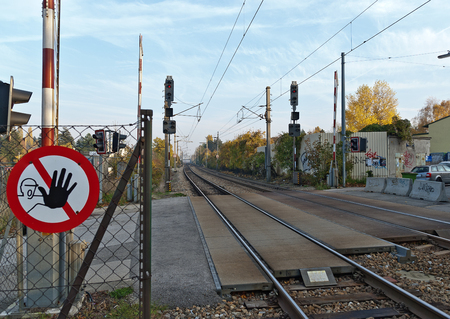 railway crossing and prohibition sign Stock fotó