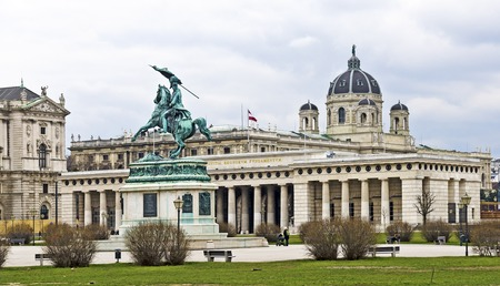 VIENNA, AUSTRIA - FEBRUARY 12, 2016: Heroes Square with Castle gate and equestrian  statue of Archduke Charles of Austria