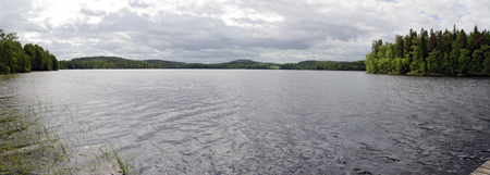 panoramic view across the lake Gissen at Smaland, Sweden