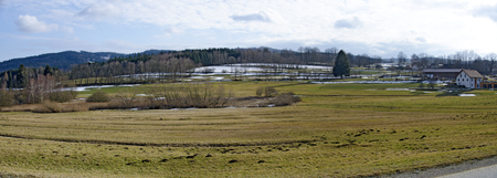 panoramic view of snowy fields and meadows at the region