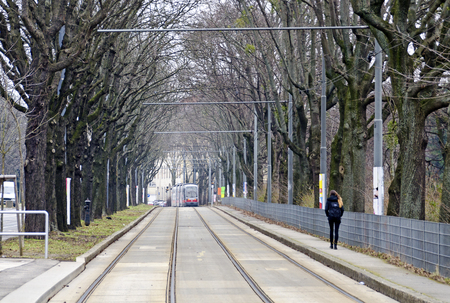 tramway tracks at separate lane in an alley, Vienna, Austria
