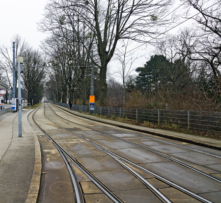 tramway tracks with switches at separate lane, Vienna, Austria Editorial