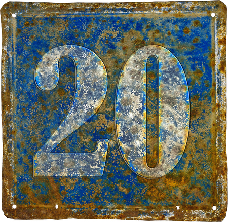 old and  rusty domestic code plate with number 20  made from sheet of iron