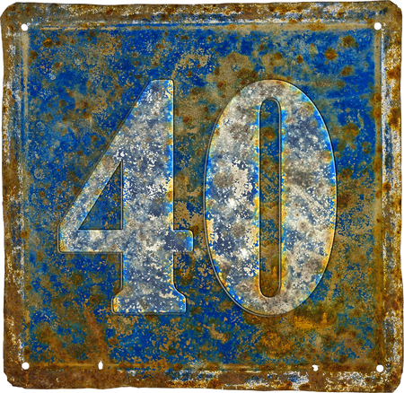 old and  rusty domestic code plate with number 40  made from sheet of iron 스톡 콘텐츠 - 100326551