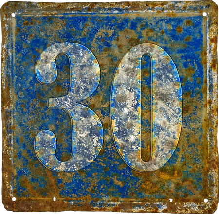 old and  rusty domestic code plate with number 30  made from sheet of iron
