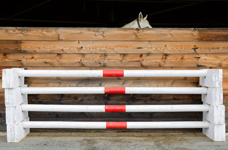 stack of four barriers for horse jumping Stok Fotoğraf