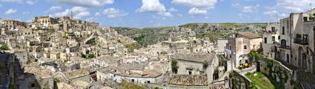 Panoramic view across the historic district of Matera, Italy