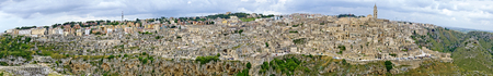 view across the historic district of Matera at the region Basilicata, Italy