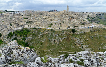 panoramic view across the city of Matera with the ravine