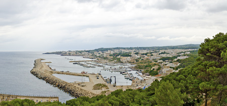 panoramic view across the town  of Santa Maria di Leuca at the southernmost point of Salento with its port , Italy 스톡 콘텐츠