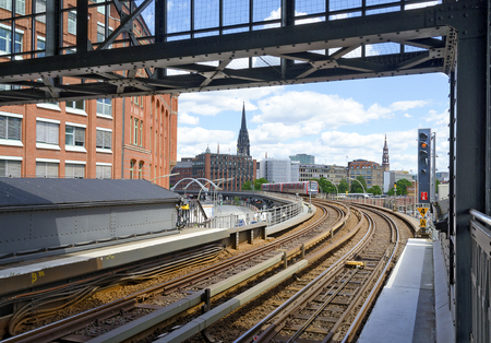 view from the station Baumwall of the Hochbahn (elevated railway) to the inner city of Hamburg, Germany Redactioneel