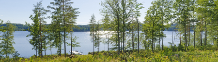 panoramic view of the swedish lake Gissen in the light of the summer sun at afternoon Stock Photo