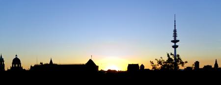 silhouette of the town  of Hamburg at sundown, Germany