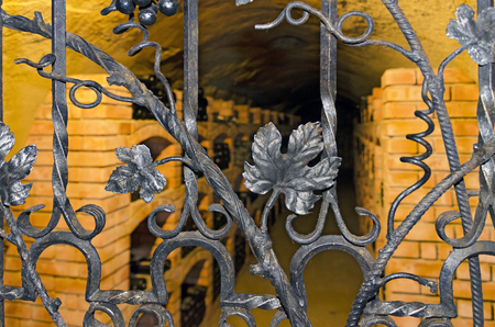 view into a wine cellar through a wrought iron door with wine leaves Zdjęcie Seryjne