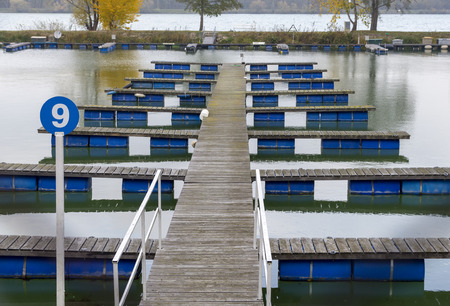 empty boat jetty of a yacht harbor on the river Danube, Austria