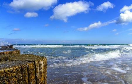 View along a wooden beach at the Baltic sea at Zingst, Germany Editöryel