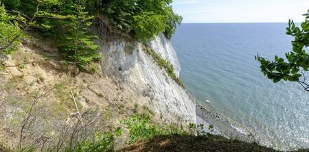 Scarp of a cliff to a pebble beach in the Jasmund National Park on the island of R?gen, Germany