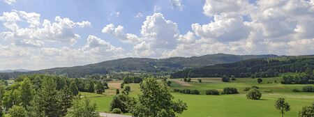 Panoramic view of a summer landscape with the mountain