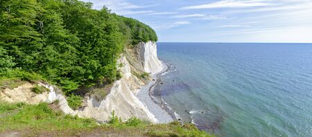 view across the cliffs at the chalk coast of Ruegen and the Baltic sea until the horizon, Germany