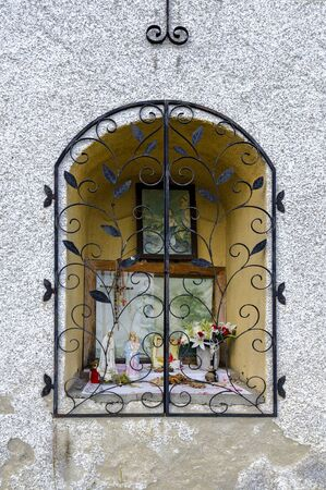Brick-building traditional wayside shrine at Harbach, Austria