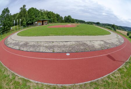 sports facility with red all-weather synthetic track at Harbach, Austria