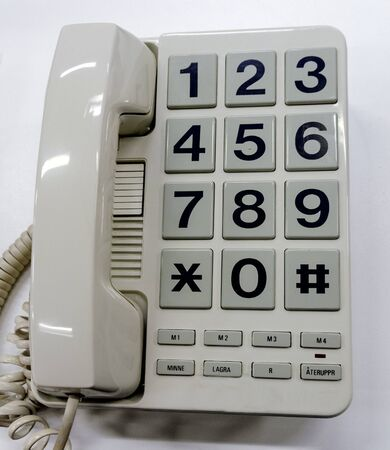 Fixed-line telephone with big buttons and memory function