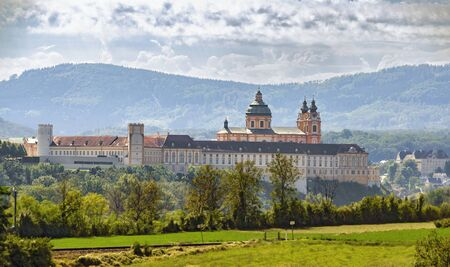 view to the abbey Melk from the opposite side of the Danube valley from the village Emmersdorf, Austria