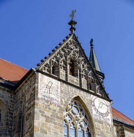 Two different sundials on the facade of the Abbey Zwettl, Austria