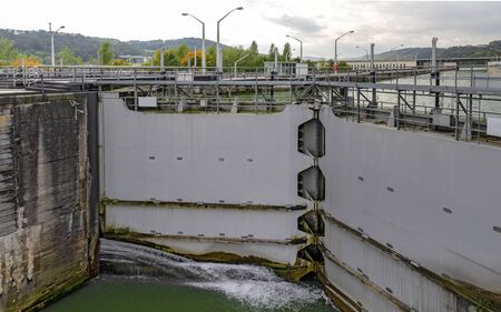 closed lock gate downstream of the hydraulic power plant Ybbs-Persenbeug in the river Danube, Austria