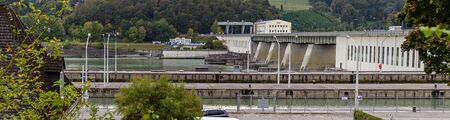 hydraulic power station Ybbs-Persenbeug on the river Danube seen from the downstream side with two lock basins, Austria