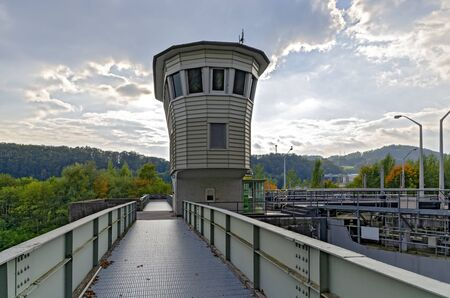 lock house of the hydraulic power plant Ybbs-Persenbeug in the river Danube, Austria Reklamní fotografie