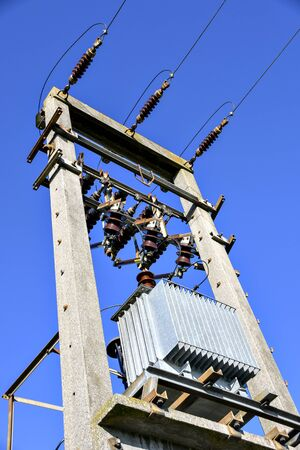 transformer mounted on a transmission tower, Austria