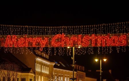 Christmas illumination made from LED with the greeting
