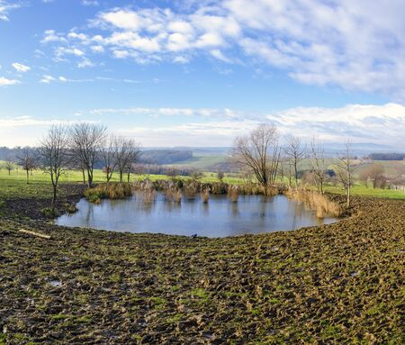 trampled cow pasture around a pond with view to a hilly landscape in the region Burgenland at a snowless winter, Austria