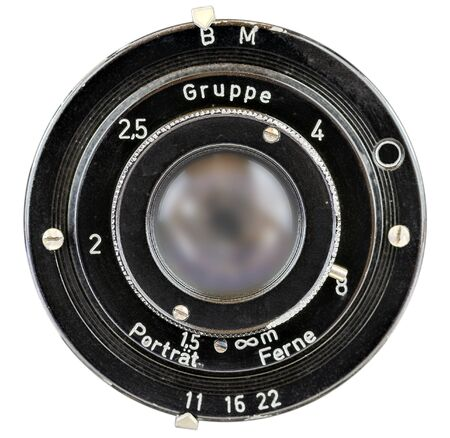 view from the front on an old camera optic Stock Photo