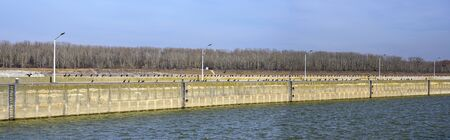 black cormorants sitting on the quay wall at the entrance to the lock of the hydraulic power station Greifenstein of the river Danube, Austria Banque d'images