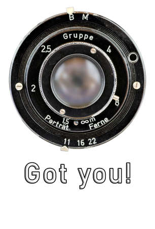 Old lens of an analogue camera from the year 1939