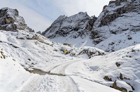 snowy way to the Karlsbader lodge through the socalled Laserz corrie at the Lienz dolomites, Austria