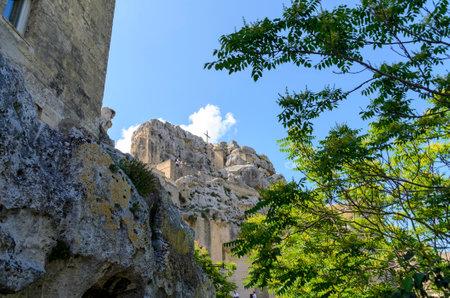 upwards view onto the rock church Santa Maria dell Idris at Matera, Italy