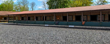 Panoramic view with row of stables for horses alongside a tilt yard, Austria Editorial