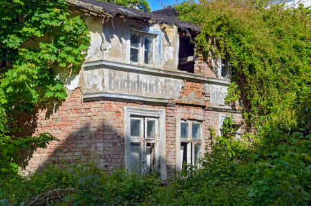 ruin of the building of a former printing house on the island of Ruegen at Sassnitz, Germany